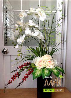 Bình Lan kiểu 667CHL cao 100cm, gồm lan hồ điệp, hoa hồng, hoa tú cầu và trái berry đỏ…,; hoa lụa đẹp, kiểu dáng tự nhiên, ấn tượng, tinh tế, giống thật