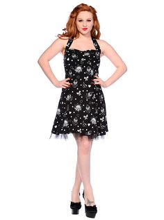 "Women's ""Skulls, Anchors And Bows"" Sailor Dress by Banned Apparel (Black/White)"
