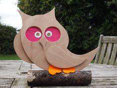Wooden owl made by dad! Wooden Owl, Egg Chair, Snowman, Homemade, Disney Characters, Home Decor, Art, Homemade Home Decor, Kunst