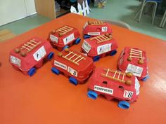 Fire truck craft for kindergaten and preschool. Kindergarten Activities, Preschool Crafts, Toddler Activities, Crafts For Kids, Fireman Crafts, Fireman Party, Fire Truck Craft, Truck Crafts, People Who Help Us