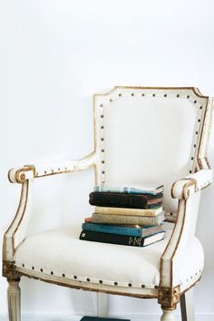 768fc4f6369 Totally love this white leather chair with the nailheads and gold detail  for a home office