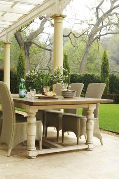 Dining al fresco is amazing, all the food seems much tastier there! If you don't have an outdoor dining area yet, this roundup will definitely inspire. Outdoor Rooms, Outdoor Dining, Outdoor Furniture Sets, Outdoor Decor, Dining Table, Patio Dining, Patio Table, Outdoor Chairs, Gazebo