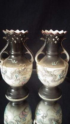 Moriage Dragonware Hand Painted Pair by frankiesfrontdoor on Etsy, $125.00