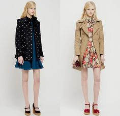 Red Valentino 2015 Pre Fall Autumn Womens Lookbook Presentation - Pop Art Flowers 1960s Peter Pan Collar Dress 3D Embroidery Knit Stripes Ruffles Furry Rainwear 1970s Seventies Hippie Boho Bohemian Sixties Florals Botanical Print Graphic Pattern Blouse Shirtdress Sheer Chiffon Tulle Embellished Collar Silk Heart Circus Tent Hem Ribbon Flap Cargo Pockets Vestdress Moto Biker Rider Leather Studs Plastic Dots