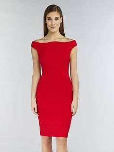1f0ec889b19 Hybrid Hybrid Bella Off Shoulder Panelled Bodycon Pencil Dress in Red -  Hybrid from Hybrid Fashion