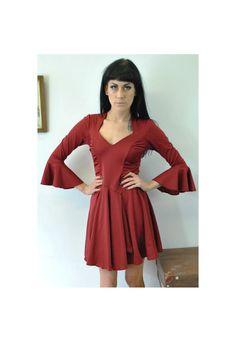 Vintage 70s Red Ruched Dress 10 12 DRS475 | Bang Bang | ASOS Marketplace