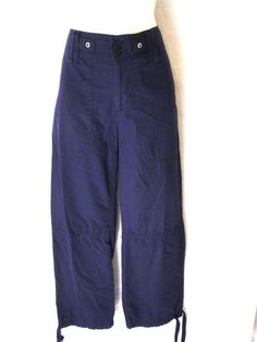 NWOT Lauren Ralph Lauren Navy Utility Capri Pants Tie Hem Size 4 #LaurenRalphLauren #CaprisCropped