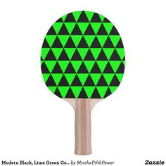 Modern Black, Lime Green Geometric Triangles Ping-Pong Paddle by M to the Fifth Power