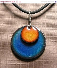 DIVORCE SALE Orange and Blue Copper Enamel by SiftandWinnow