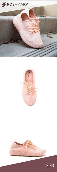Qupid Nacara Fly Knit Pink Sneaker Featuring lace-up tie closures, textured soles, and a all over monochromatic color.  Material: Man Made Sole: Rubber Qupid Shoes Sneakers