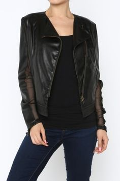 *** Chiffon & Leatherette Jacket *** Zip-front leatherette jacket with chiffon trimmed sleeves.