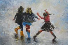 Happy Feet Three Sisters Art Print, three girls paintings, girls room wall art, girlfriends best friends, Vickie Wade art