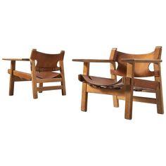 Børge Mogensen Pair of Cognac Leather 'Spanish Chairs' | 1stdibs.com