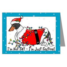 Piebald Santa Dachshund Greeting Cards (Pk of 10)