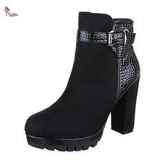 Ital-Design , Bottes à enfiler femme - noir - Schwarz, 38 EU - Chaussures ital design (*Partner-Link)