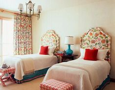 love the houndstooth stools, upholstered headboards & color scheme, orange would be great also instead of red.