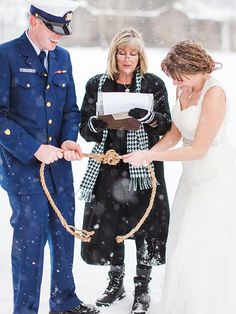"""Give the term """"tying the knot"""" a modern twist with some sturdy rope for a unity candle alternative that can become a keepsake once the ceremony is over. Wedding Unity Candles, Unity Ceremony, Wedding Ceremony, Unity Candle Alternatives, Wedding Knot, Celtic Wedding, Unique Wedding Favors, Wedding Ideas, Wedding Stuff"""