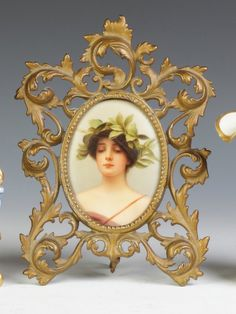 "Hand Painted Porcelain Plaque, ""Dafnee the Blind Girl"" - Signed Lower Right ""Wagner"""