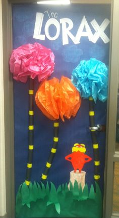 "Dr. Suess ""the lorax"" door decoration for read across America week"