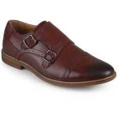 Territory Mens Buckle Cap Toe Faux Leather Double Monk Strap Dress Shoes, Men's, Size: 7, Red