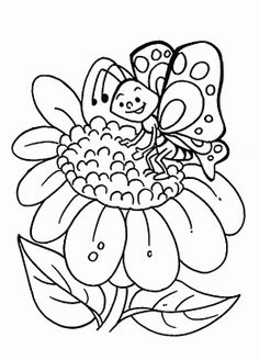 Sunflower and Cute Butterfly coloring page for kids, flower coloring pages printables free