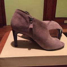 Franco Sarto grey suede heels Franco Sarto L-Tiff grey suede shoe bootie. Can be worn casual or dressy. Very comfortable padding on the ball of the foot. Worn once to a business meeting. I bought on sale for $80 asking for $50.  Can negotiate. Franco Sarto Shoes Ankle Boots & Booties