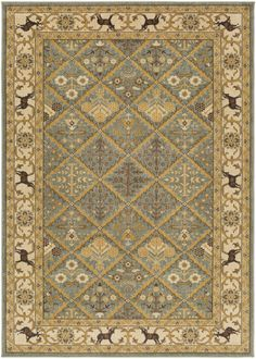 Surya Willow Lodge WLL1007 Green/Neutral Classic Area Rug