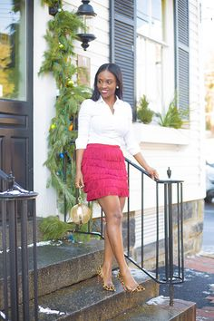 Tiered Fringe Black Women Fashion, Girl Fashion, Classy Outfits, Trendy Outfits, Fringe Skirt, Professional Outfits, Work Attire, Holiday Outfits, Skirt Outfits