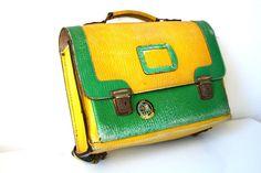 SALE Vintage German satchel school bag briefcase by vintageekho, €18.00