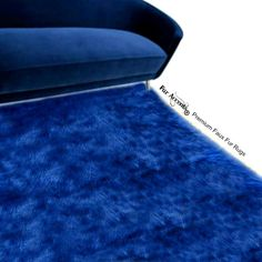 Shaggy Dark Blue Area Rug Premium Faux Fur Plush Soft Rectangle... ($120