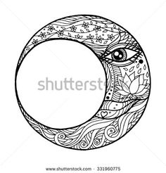 woman face in the moon, abstract line art zentangle, hand drawn, vector illustration design