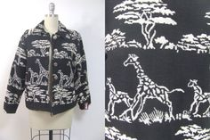 Vintage coat vintage jacket giraffe pattern coat by AliceandAyala