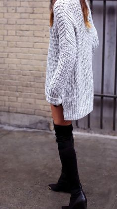 ribbed knit & over-the-knee boots