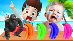 Bad Baby Crying Learn colors with Banana Car - Learn Color With King Kon...