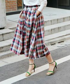 Tartan, Plaid, Capsule Wardrobe, Midi Skirt, Stripes, Textiles, Chic, Stylish, Womens Fashion