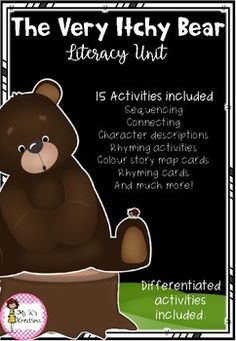 The Very Itchy Bear Literacy Unit Rhyming Activities, Book Activities, The Very Cranky Bear, Colour Story, Author Studies, Preschool, Study, Classroom, The Unit