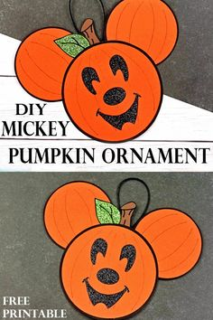 Add a little Mickey Mouse to your Halloween decor with this adorable DIY pumpkin Mickey ornament. Instructions include a free printable. Mickey Mouse Ornaments, Mickey Mouse Halloween, Disney Ornaments, Halloween Ornaments, Disney Halloween Decorations, Halloween Food Crafts, Halloween Kids, Pumpkin Ornament, Diy Pumpkin