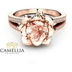 Morganite Flower Engagement Ring 14K Rose Gold Flower Engagement Ring... ❤ liked on Polyvore featuring jewelry, rings, flower engagement ring, peach rings, pink engagement rings, pink diamond ring and rose gold flower ring