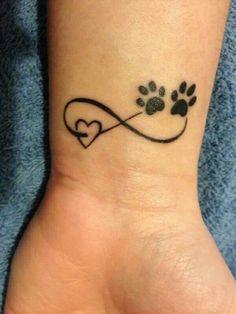 Infinity sign tattoo wrist black heart bear paw - tattoo - Tattoo Designs for Women Family Tattoos, Dog Tattoos, Mini Tattoos, Small Tattoos, Bear Paw Tattoos, Tatoos, Chihuahua Tattoo, Memory Tattoos, Small Animal Tattoos