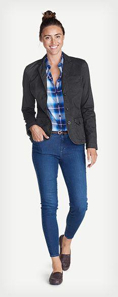 Women's casual outfit featuring Legend Wash Stretch Blazer, Stine's Favorite Flannel Shirt - One-Pocket Boyfriend, Elysian Skinny Jeans - Slightly Curvy, Skinny Leather Belt & Eddie Bauer Ellensburg Shoes