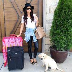 Chic travel outfit   Rach Parcell of Pink Peonies