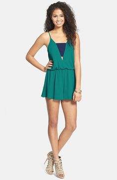 $48, Teal Playsuit: Lush Colorblock Blouson Romper Teal Medium. Sold by Nordstrom. Click for more info: https://lookastic.com/women/shop_items/59651/redirect