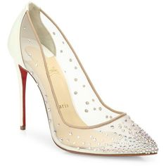Christian Louboutin Follies Crystal & Mesh Point Toe Pumps (3.880 BRL) ❤ liked on Polyvore featuring shoes, pumps, pointy toe pumps, christian louboutin shoes, pointed toe pumps, pointed toe shoes and leather upper shoes