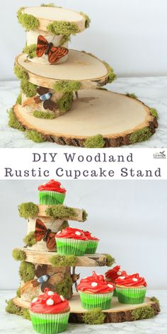 Make your Dessert Tables the envy of every Baby shower or Themed wedding with this step-by-step tutorial on how to make A DIY Fairy Woodland Rustic Wood Cupcake Stand! It also makes a great birthday cake stand for all your party ideas and made from simple tree stump wood slices, and moss accents.