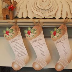 Christmas Seating Plan - An unusual Seating Plan for a Christmas Wedding - there were 10 stockings supplied in all to be displayed on a mantel shelf.
