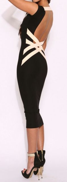 Women's fashion | Backless bandage dress, strapless heels