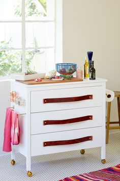Dresser flipped into a rolling kitchen island.