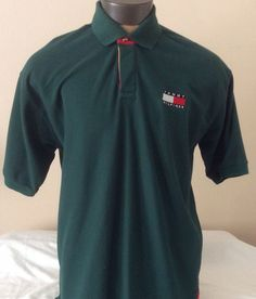 Vintage 90's Tommy Hilfiger Sailing Gear Green Patch Polo Shirt XXL Cotton #TommyHilfiger #PoloRugby
