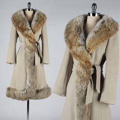 24hr HOLD vintage 1960s coat . taupe wool . fur trim . princess coat . 3757