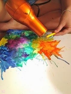 Craft where you use a hair dryer to melt crayons onto paper to create beautiful…